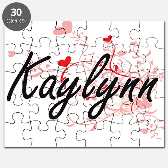 Kaylynn Artistic Name Design with Hearts Puzzle