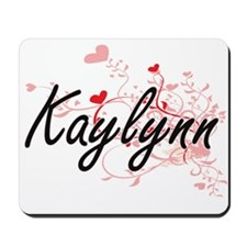 Kaylynn Artistic Name Design with Hearts Mousepad