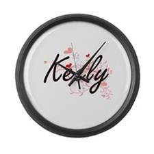 Keely Artistic Name Design with H Large Wall Clock