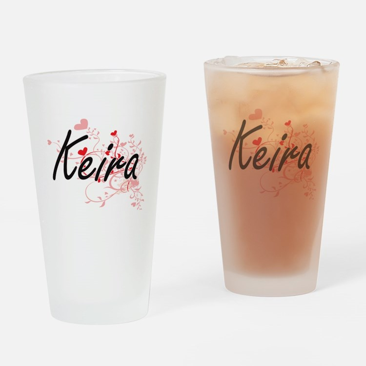 Keira Artistic Name Design with Hea Drinking Glass