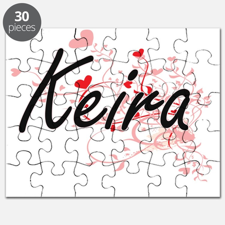 Keira Artistic Name Design with Hearts Puzzle