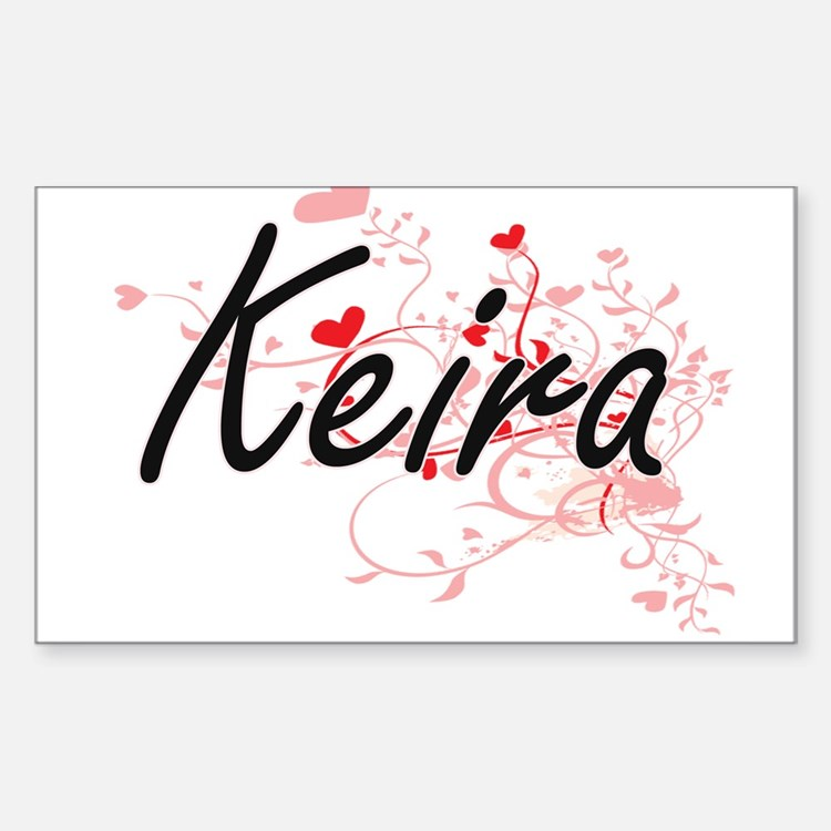 Keira Artistic Name Design with Hearts Decal