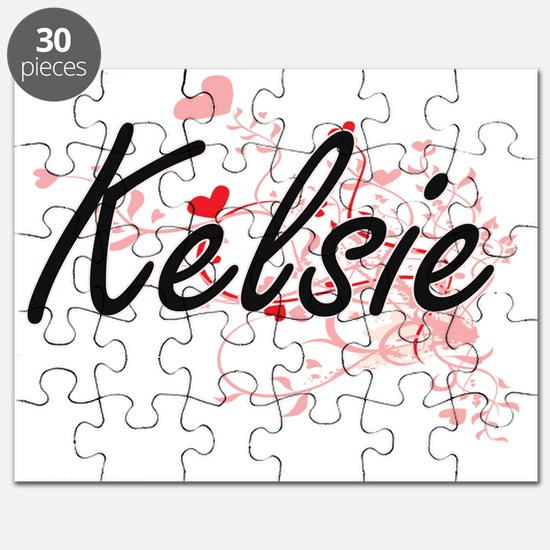 Kelsie Artistic Name Design with Hearts Puzzle