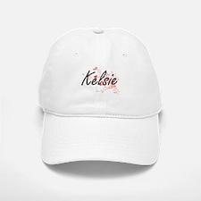 Kelsie Artistic Name Design with Hearts Baseball Baseball Cap