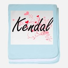 Kendal Artistic Name Design with Hear baby blanket