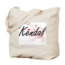 Kendal Artistic Name Design with Hearts Tote Bag