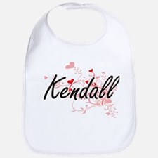 Kendall Artistic Name Design with Hearts Bib