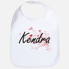 Kendra Artistic Name Design with Hearts Bib
