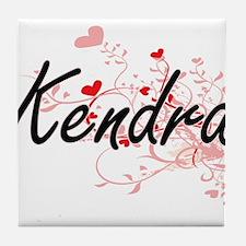 Kendra Artistic Name Design with Hear Tile Coaster