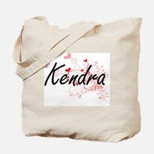 Kendra Artistic Name Design with Hearts Tote Bag