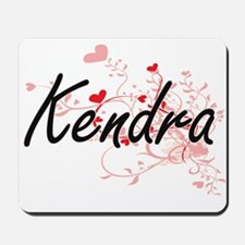 Kendra Artistic Name Design with Hearts Mousepad