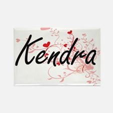 Kendra Artistic Name Design with Hearts Magnets