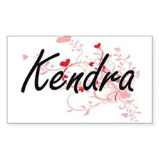 Kendra Artistic Name Design with Hearts Decal