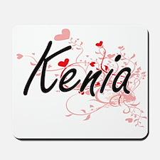 Kenia Artistic Name Design with Hearts Mousepad
