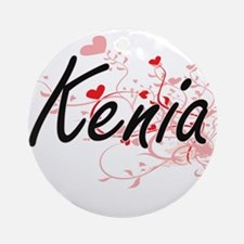 Kenia Artistic Name Design with H Ornament (Round)