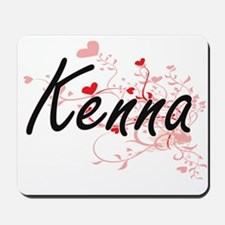 Kenna Artistic Name Design with Hearts Mousepad