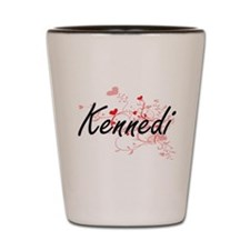 Kennedi Artistic Name Design with Heart Shot Glass
