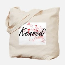 Kennedi Artistic Name Design with Hearts Tote Bag