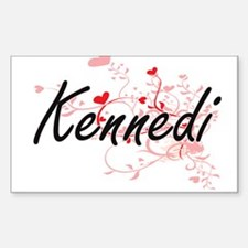 Kennedi Artistic Name Design with Hearts Decal
