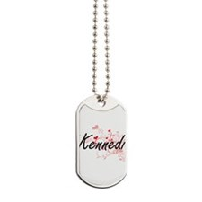 Kennedi Artistic Name Design with Hearts Dog Tags