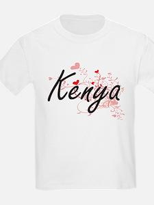 Kenya Artistic Name Design with Hearts T-Shirt
