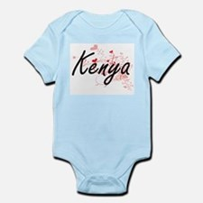 Kenya Artistic Name Design with Hearts Body Suit