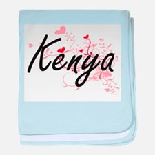 Kenya Artistic Name Design with Heart baby blanket