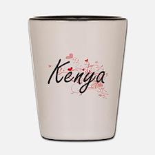 Kenya Artistic Name Design with Hearts Shot Glass