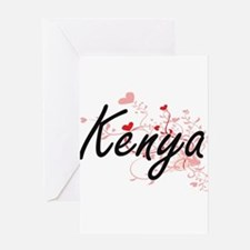 Kenya Artistic Name Design with Hea Greeting Cards