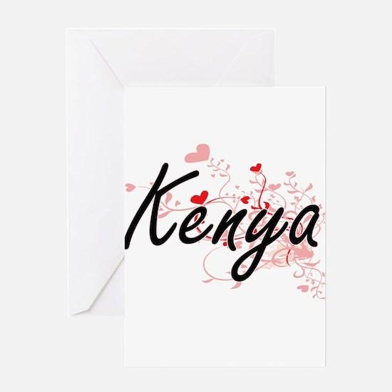 Kenya Artistic Name Design with Hea Greeting Cards