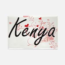 Kenya Artistic Name Design with Hearts Magnets