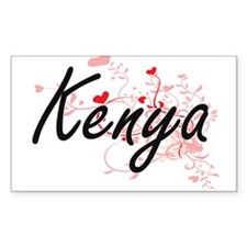 Kenya Artistic Name Design with Hearts Decal