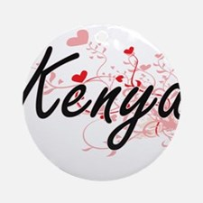 Kenya Artistic Name Design with H Ornament (Round)