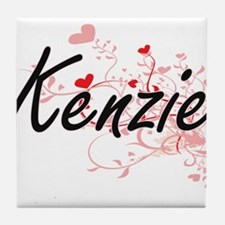 Kenzie Artistic Name Design with Hear Tile Coaster