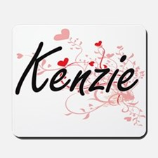 Kenzie Artistic Name Design with Hearts Mousepad