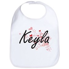 Keyla Artistic Name Design with Hearts Bib