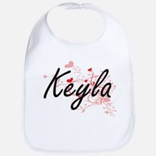 Keyla Artistic Name Design with Hearts Bib