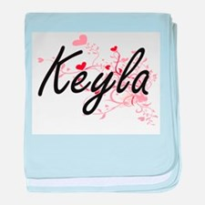 Keyla Artistic Name Design with Heart baby blanket