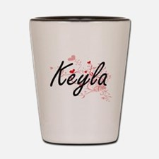 Keyla Artistic Name Design with Hearts Shot Glass