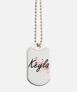 Keyla Artistic Name Design with Hearts Dog Tags