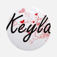 Keyla Artistic Name Design with H Ornament (Round)