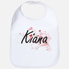 Kiana Artistic Name Design with Hearts Bib