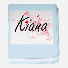 Kiana Artistic Name Design with Heart baby blanket