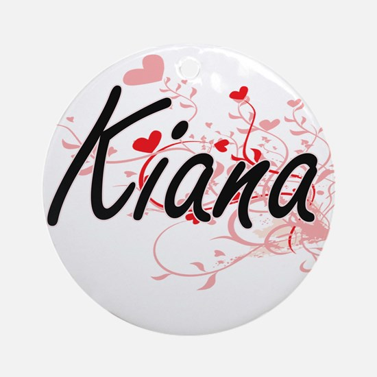 Kiana Artistic Name Design with H Ornament (Round)
