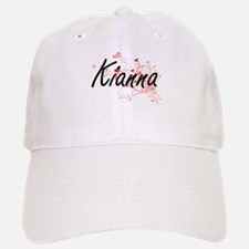 Kianna Artistic Name Design with Hearts Baseball Baseball Cap