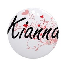 Kianna Artistic Name Design with Ornament (Round)