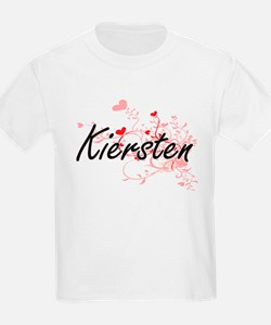 Kiersten Artistic Name Design with Hearts T-Shirt