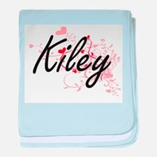 Kiley Artistic Name Design with Heart baby blanket