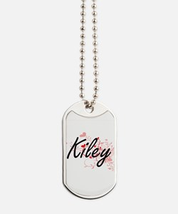 Kiley Artistic Name Design with Hearts Dog Tags