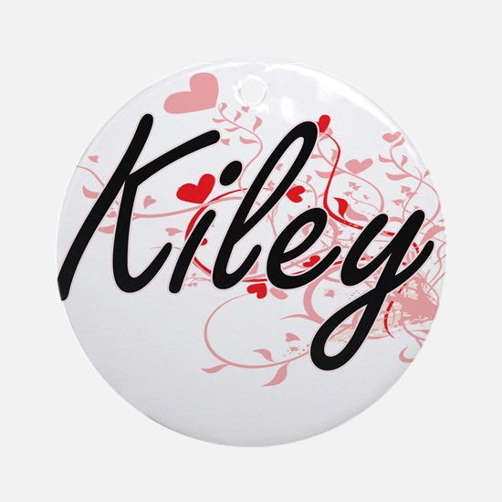 Kiley Artistic Name Design with H Ornament (Round)